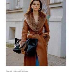 UO Glam faux fur trim coat